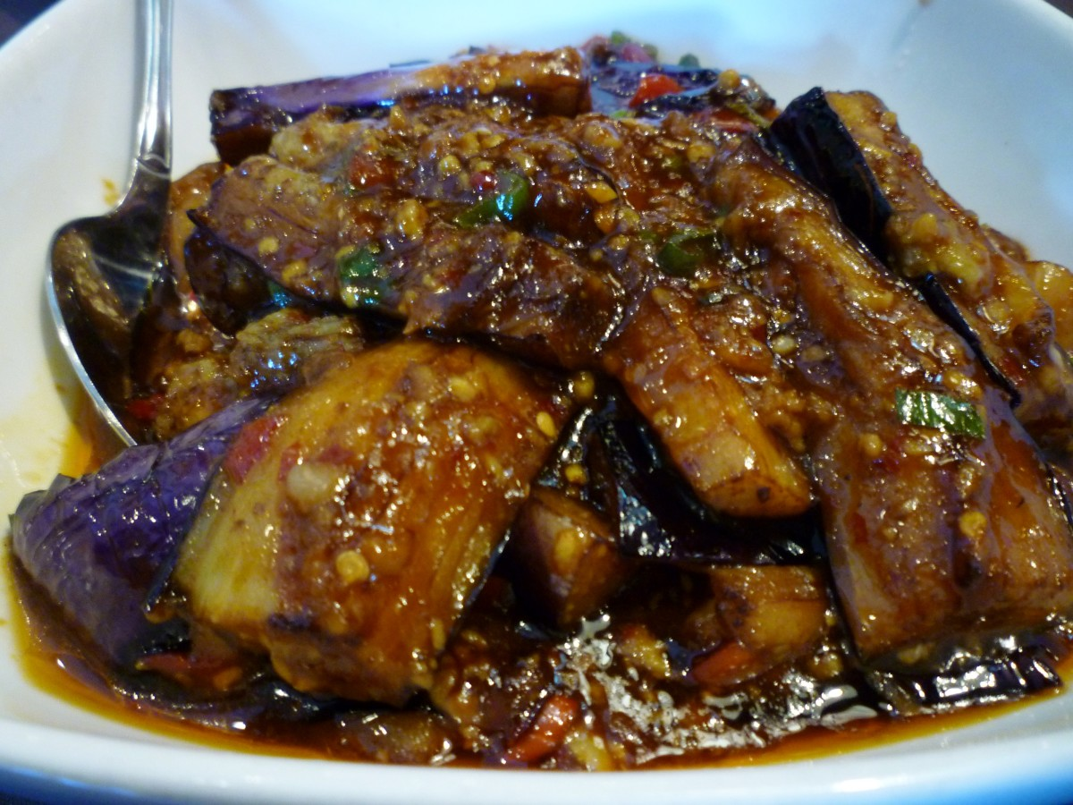 Sweet and sour eggplant with Berkshire pork