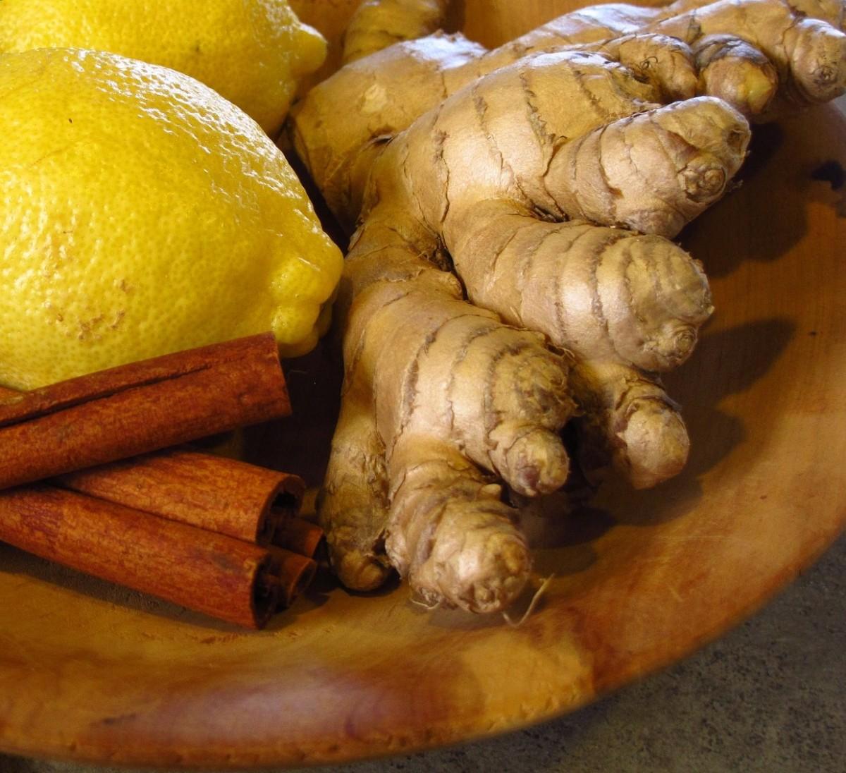 Fresh ginger, cinnamon, lemon
