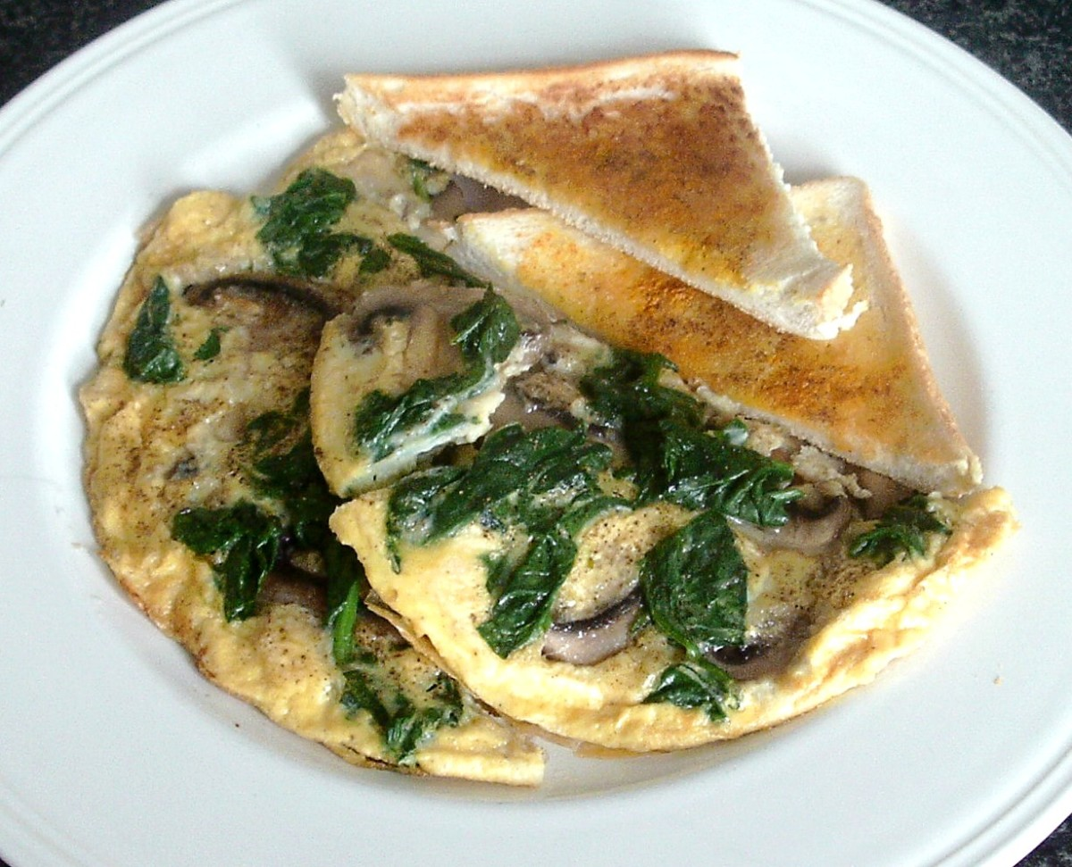 Spinach and mushroom Spanish tortilla is served with turmeric and garlic toast