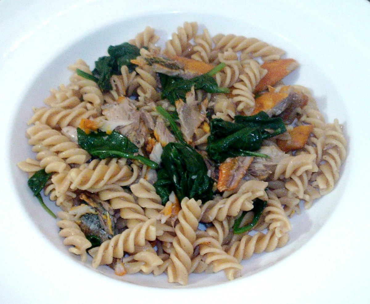 Wholewheat fusilli pasta infused with kipper flakes and spinach