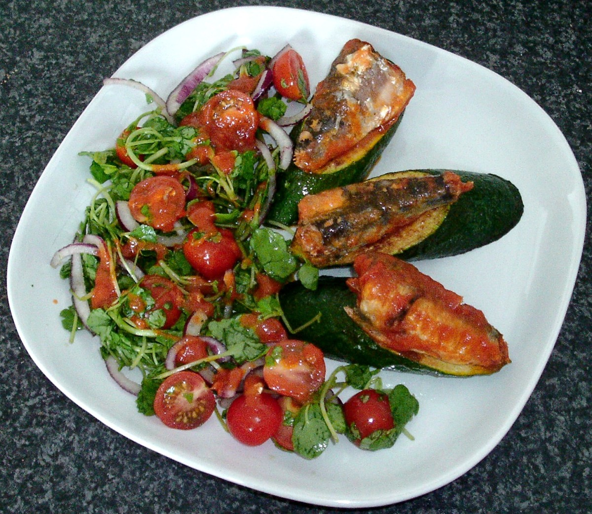 Sardines in tomato sauce are served on pan fried zucchini (courgette) wedges with accompanying salad