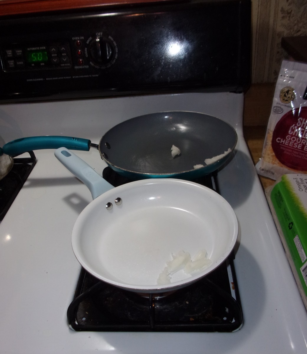 Melt cooking oil over low-to-medium heat in both pans simultaneously.