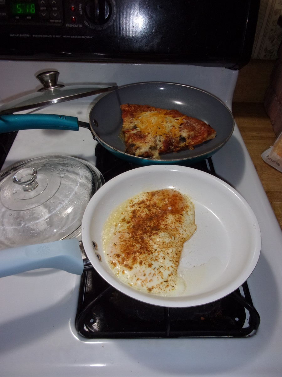 The pizza should be slightly warm, and the eggs will still be a bit soft.