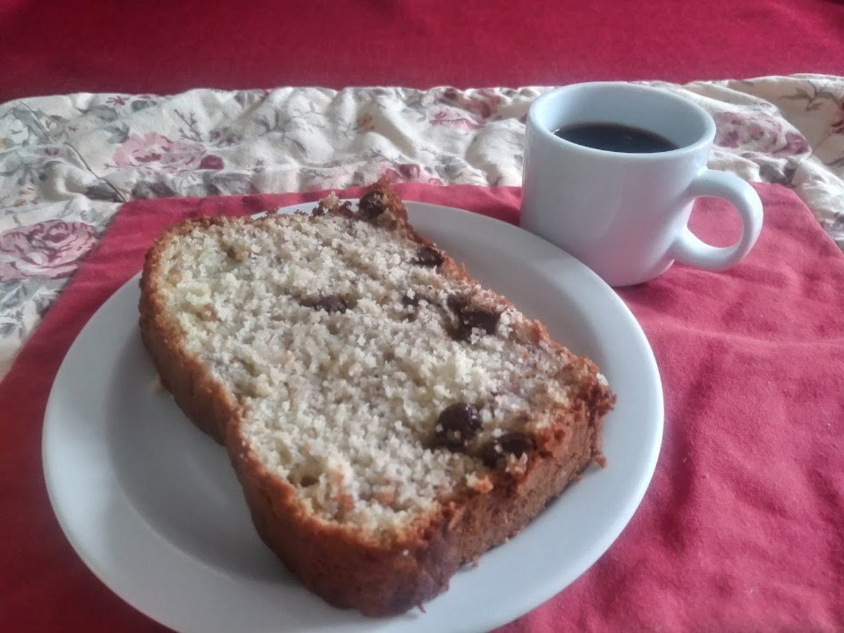This chocolate chip banana bread pairs perfectly with a cup of coffee.