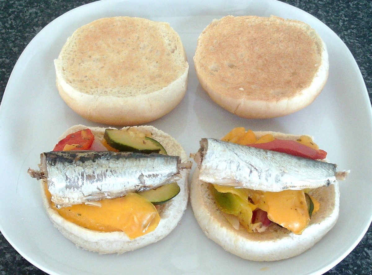 Sardines and roasted vegetables toasted rolls sandwich