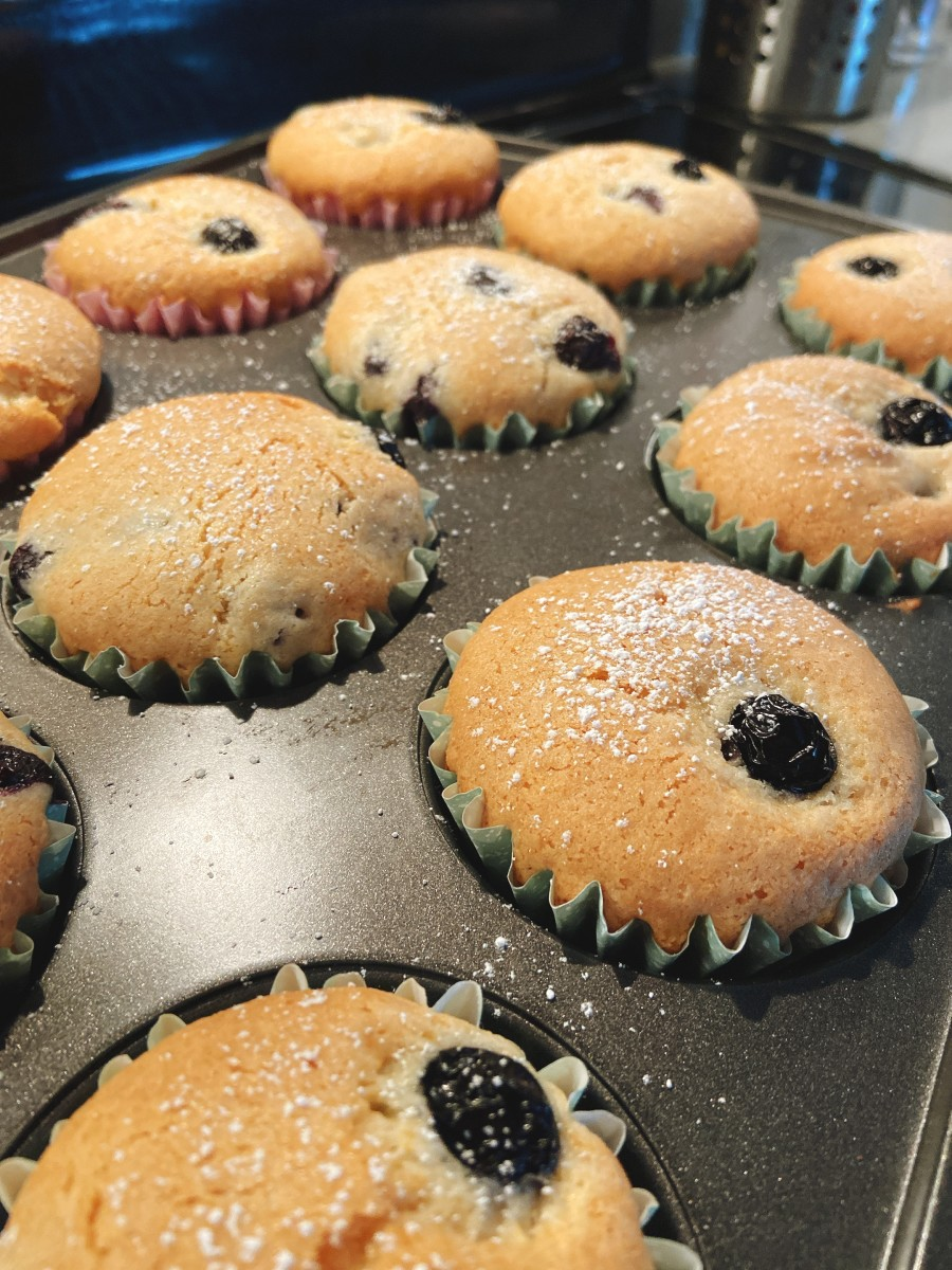 After 28 minutes, the blueberry muffins should be baked.