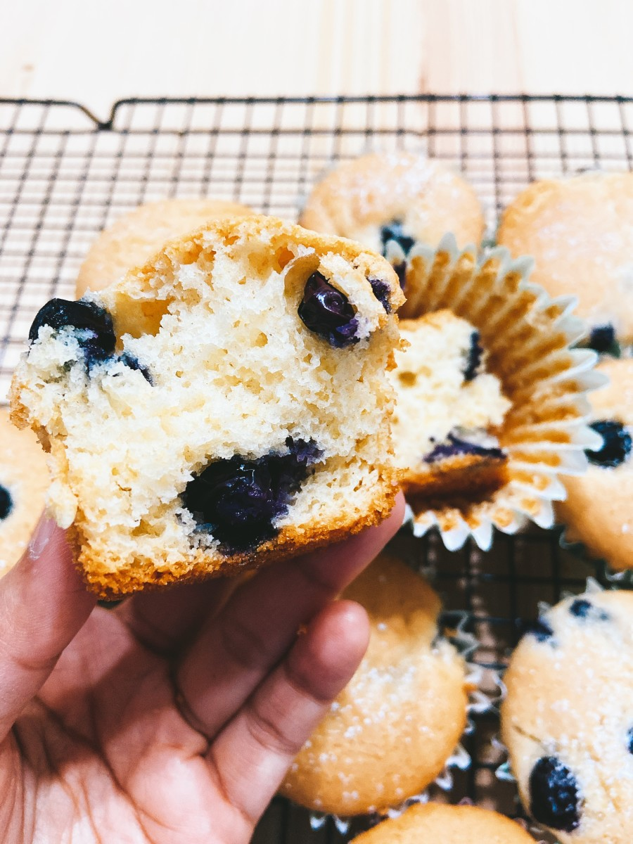 Enjoy a blueberry muffin while it's still warm. Yummy!