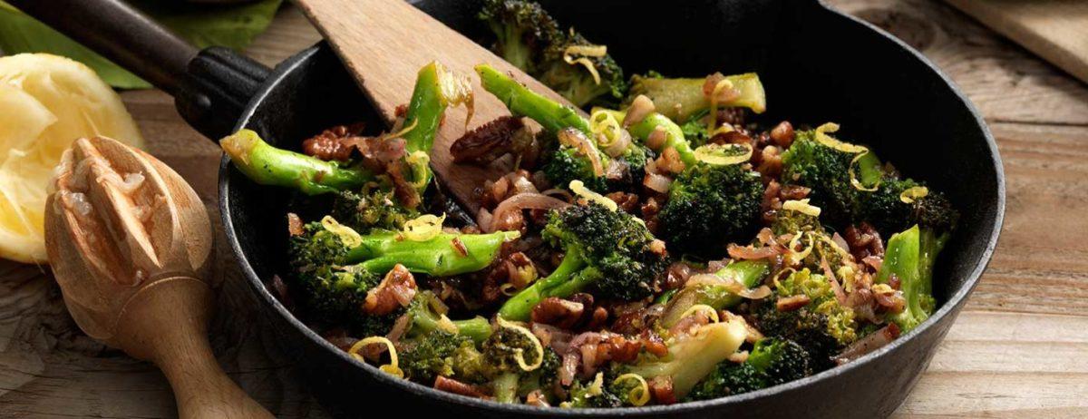 Broccolini in pecan brown butter brandy sauce