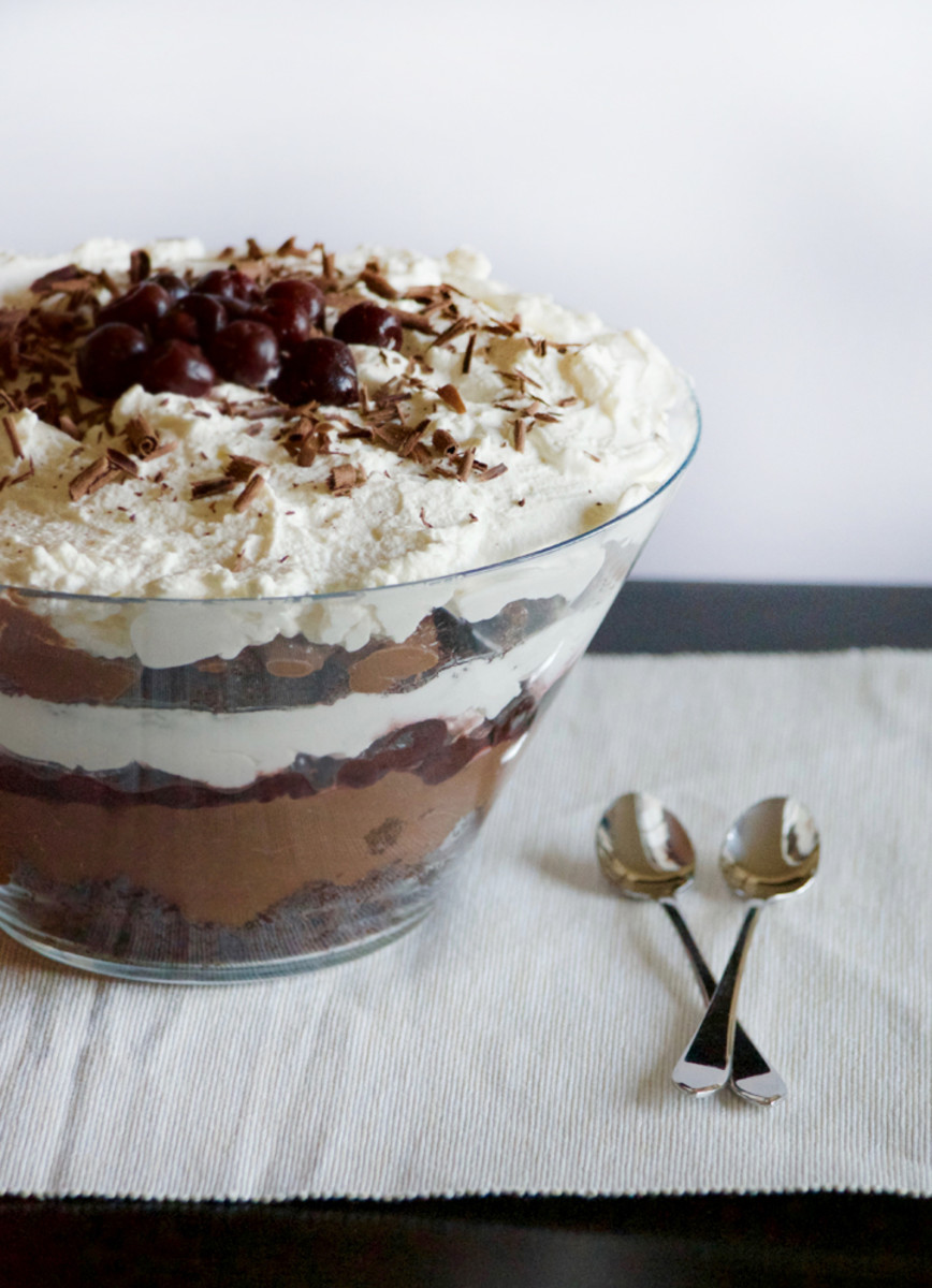 Black forest trifle with brandy