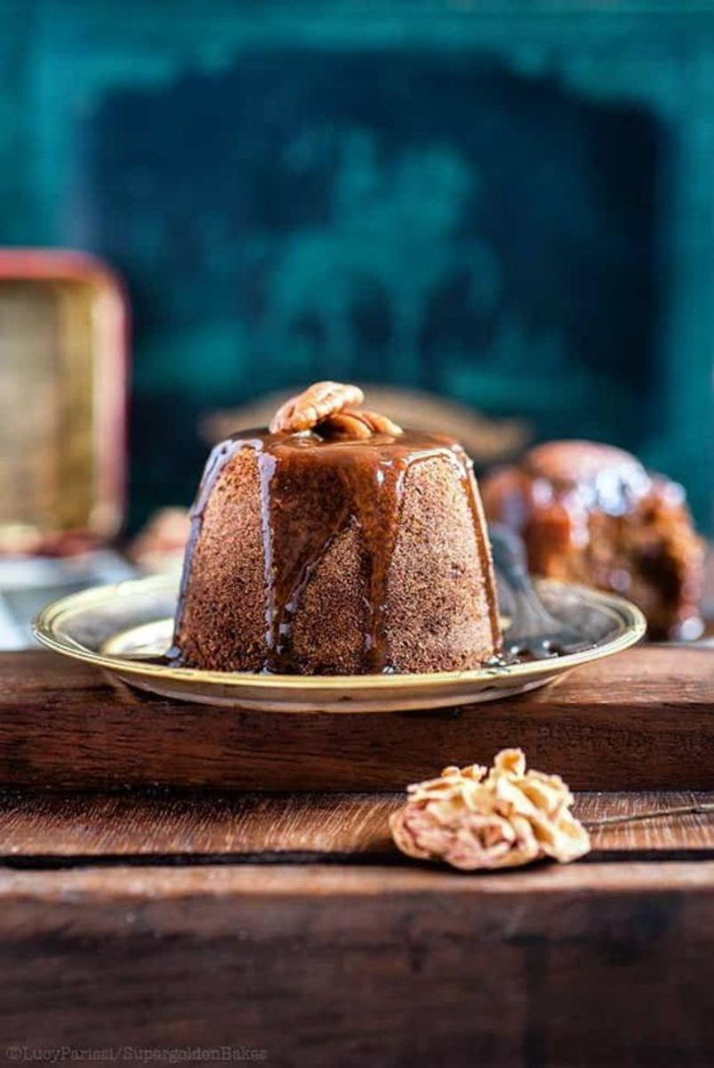 Date and ginger sticky toffee pudding with brandy toffee sauce