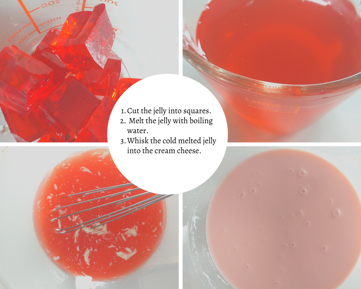 Cut your jelly into pieces and once it is dissolved whisk it into your cream cheese.