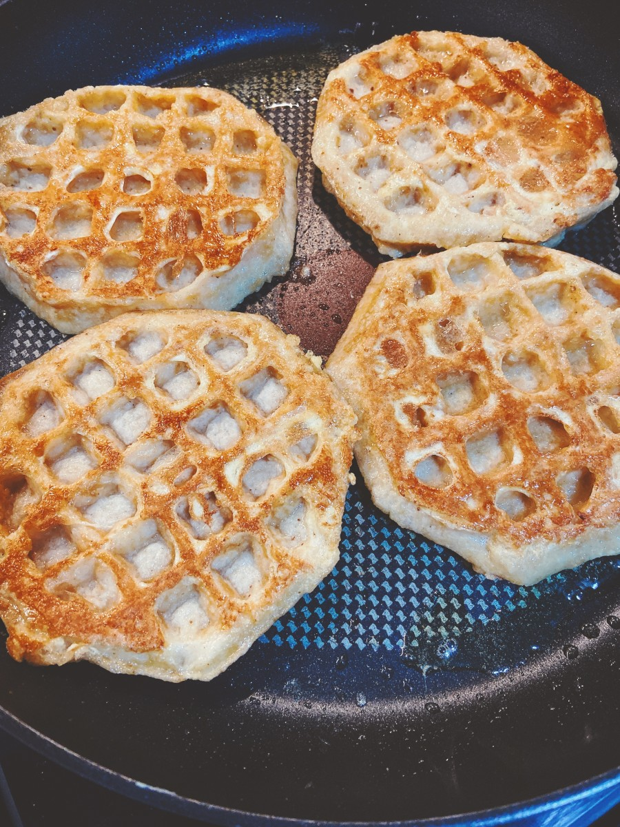 Flip the waffles to the other side after they turn golden brown.