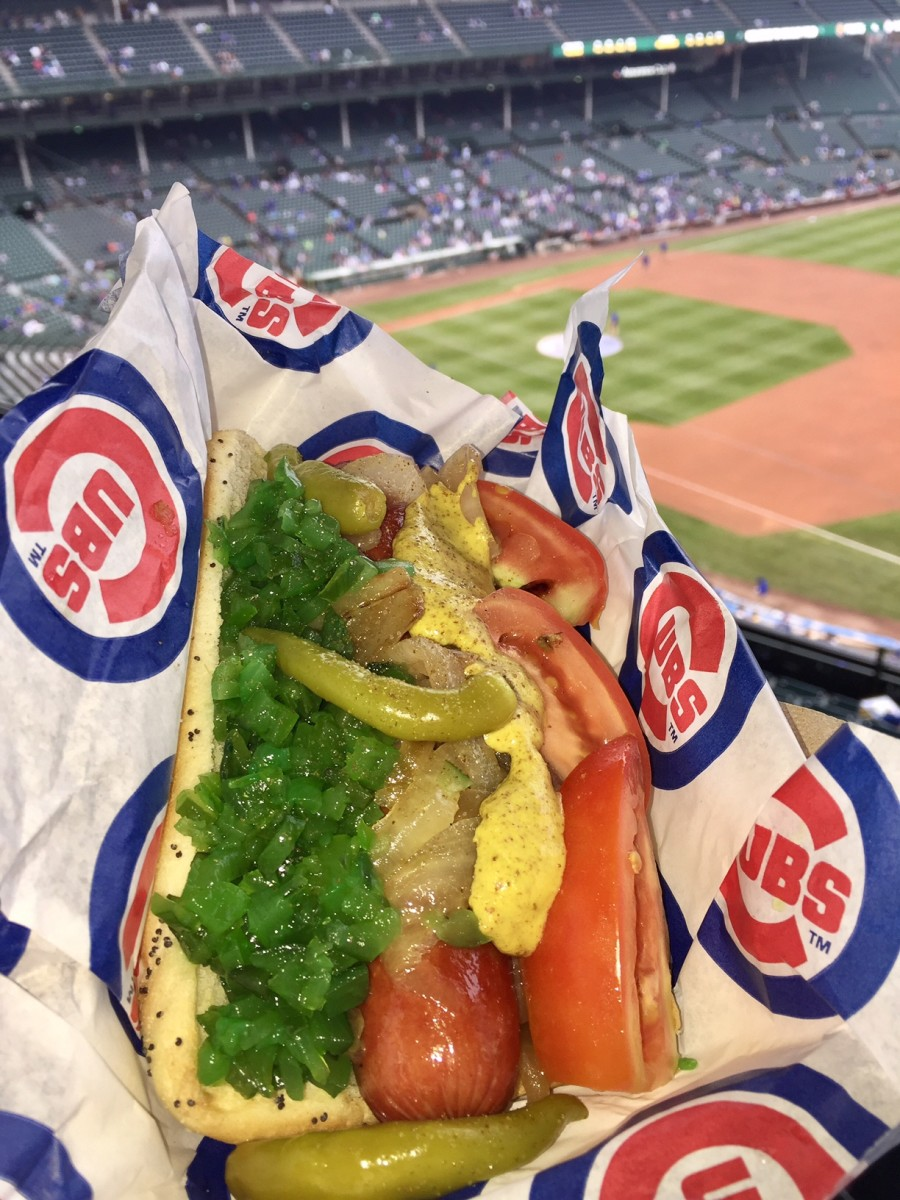 A Chicago dog at Wrigley Field
