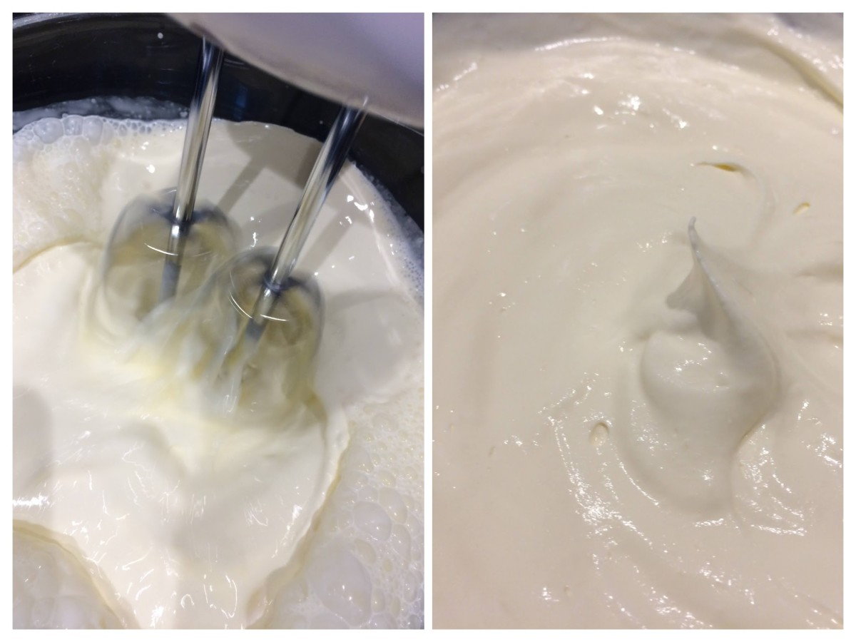 Whisking the cream until thick enough to form a peak