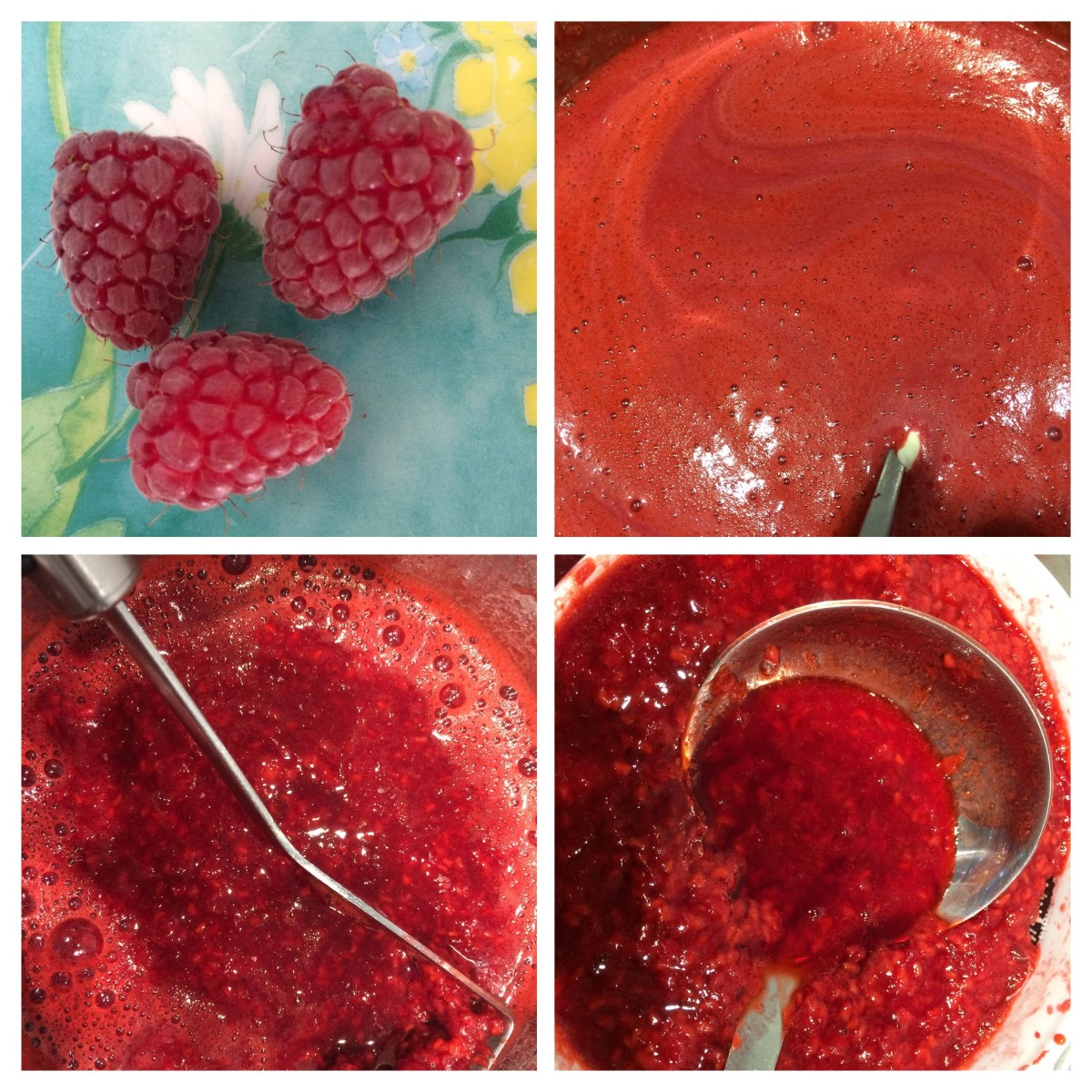 Prepare the fruit.  Top left: Fresh loganberries; Bottom left: mash the fruit; Bottom right: push through a sieve; Top right: stir in the condensed milk