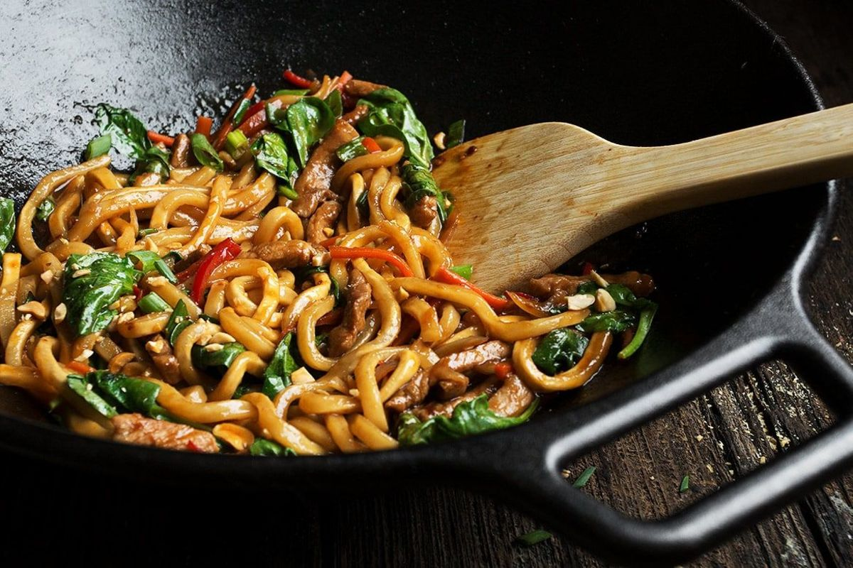 20-minute spicy pork udon stir fry