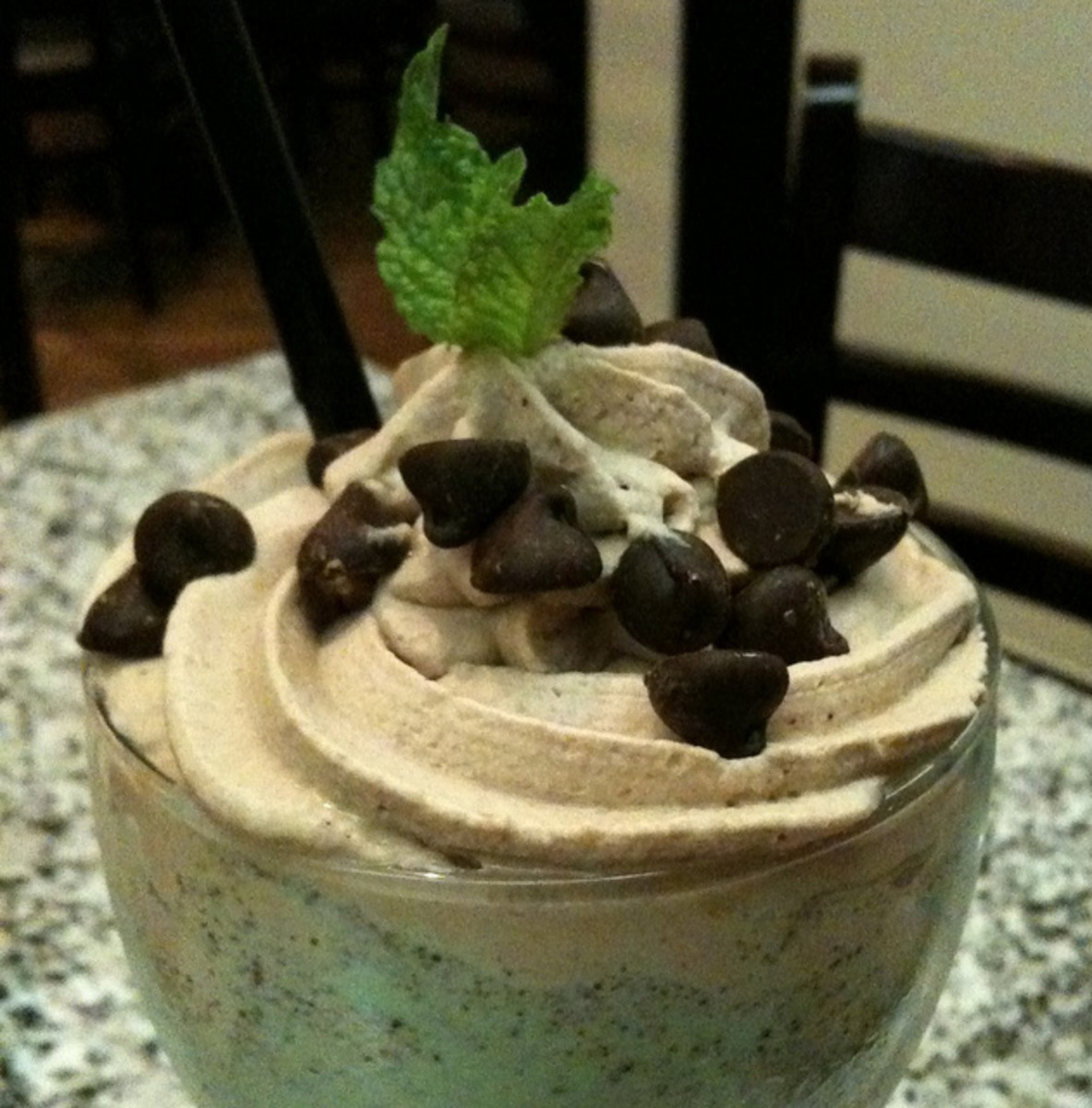 This mint chocolate shake includes more chocolate than mint.