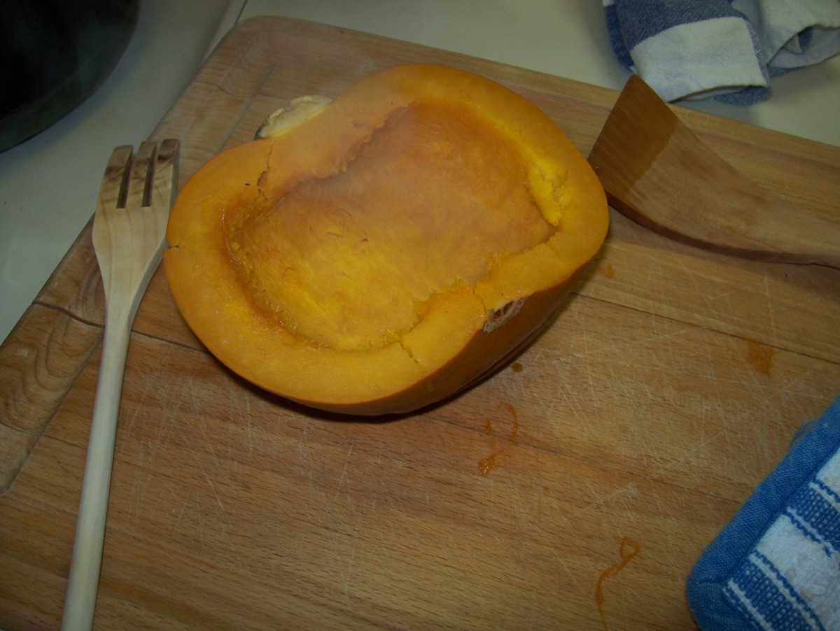 After it has baked and the pumpkin is tender, remove from oven.