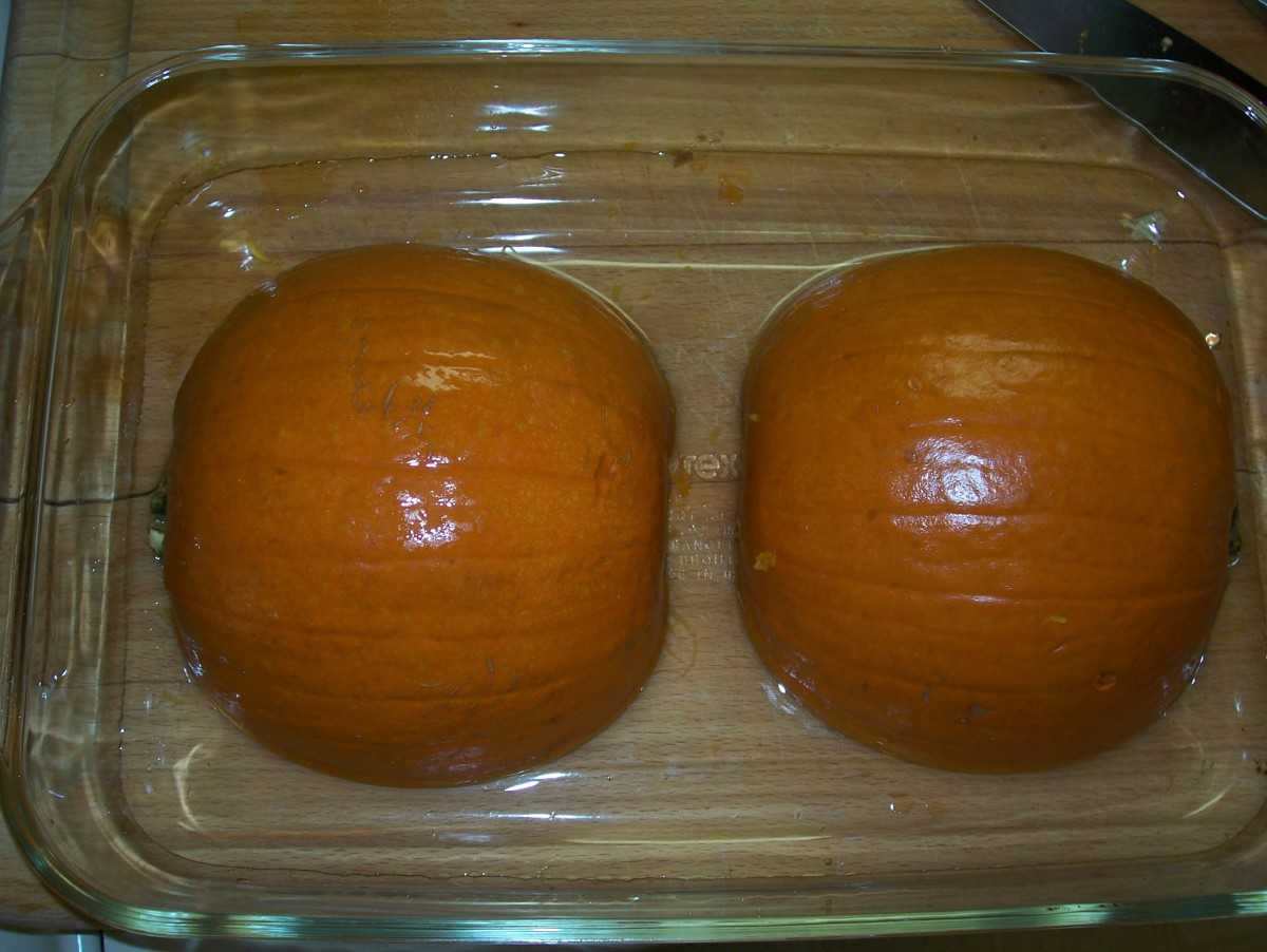 "Place the two halves, face down, in a baking dish.  Fill dish with 1/2"" of water."