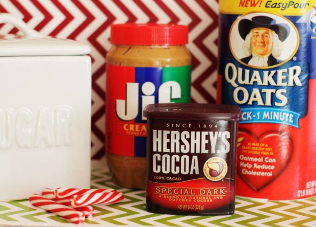 Your ingredients: peanut butter, cocoa, oats, and sugar.
