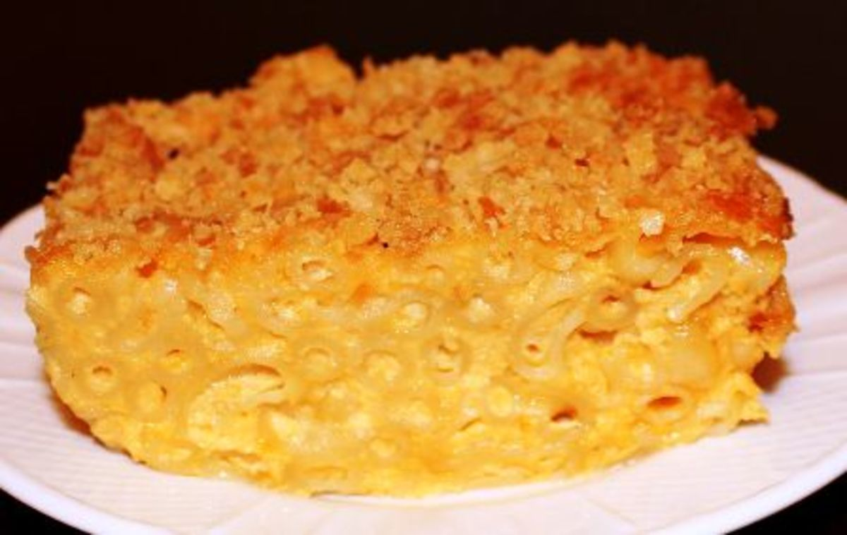 Breadcrumbs form a crispy layer on top of casserole, while white sauce peeks between noodles.