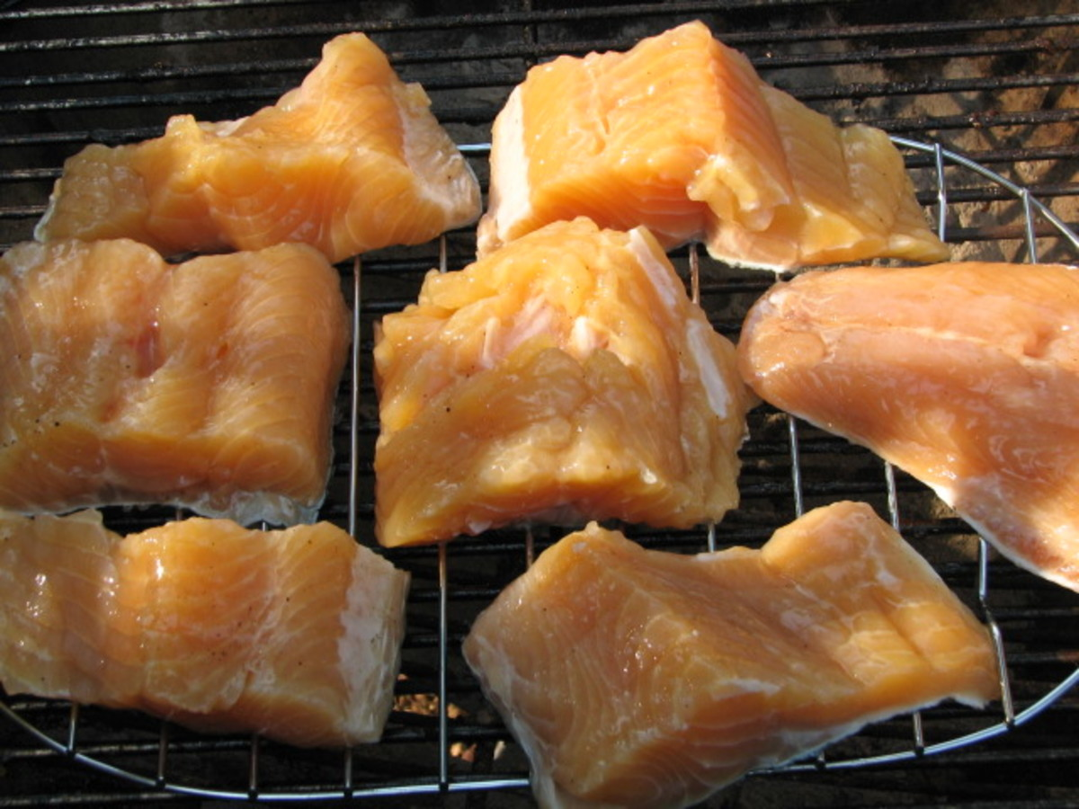 Lay the pieces of fish out on a rack to dry for some time while you are getting the smoker ready to go.