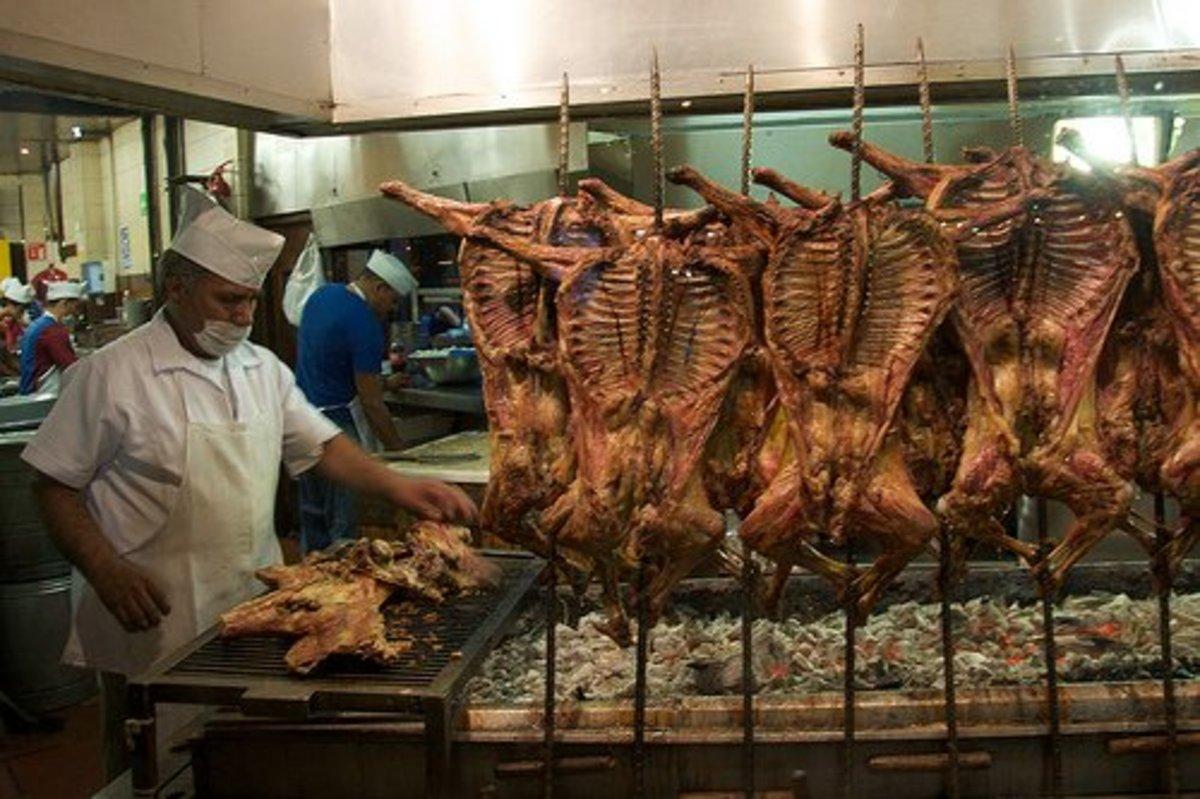 Young roasted goats at At Del Rey El Cabrito.