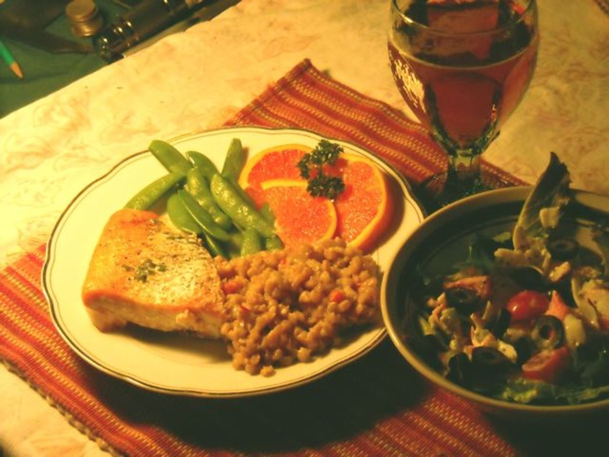 Salmon, sugar snap peas, brown rice, and orange slices. Even when you  already have something green, it helps.