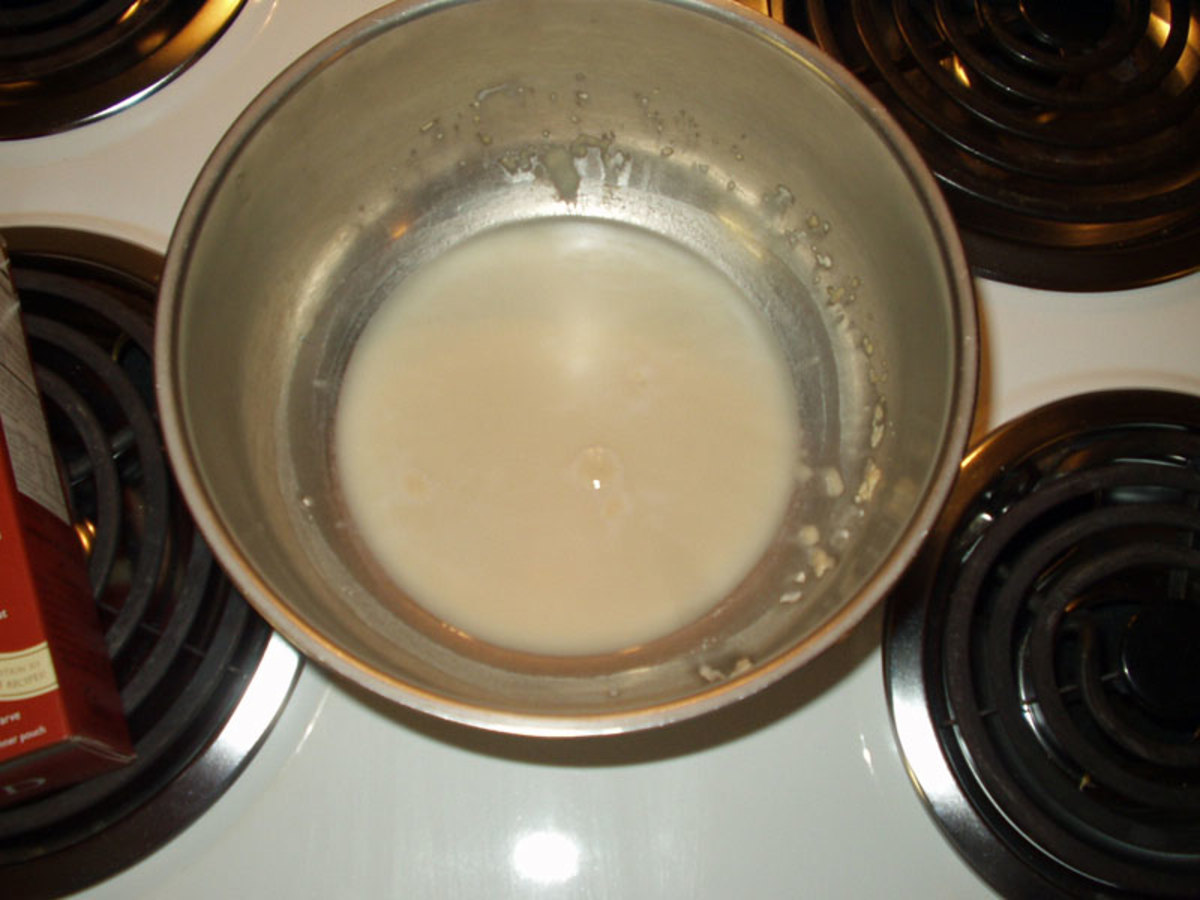 Step 2: Dissolve the yeast in warm water. Set in warm place until it bubbles.