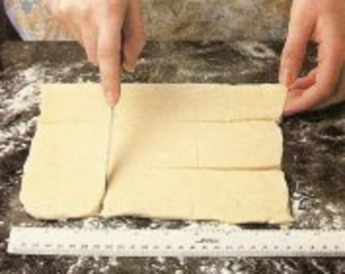 Roll out one third of dough and cut into nine, 3-inch squares.