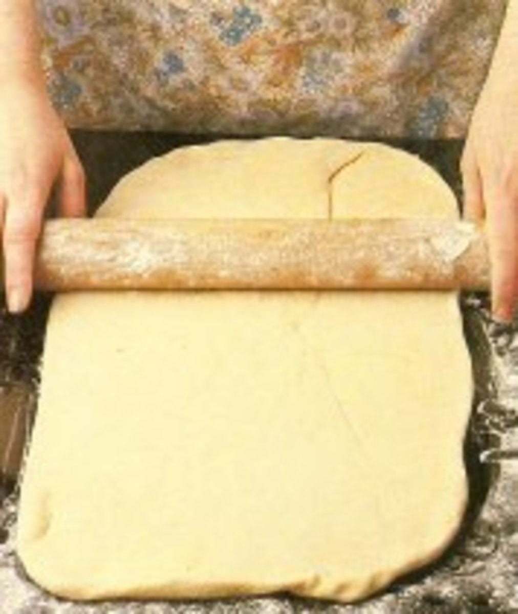 Roll dough into a large rectangle.