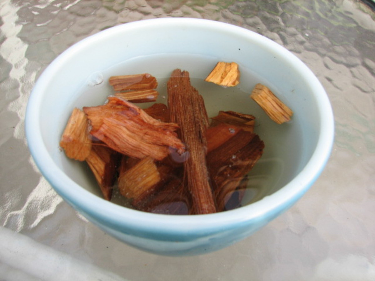 Soak Hickory chips in a small bowl overnight.