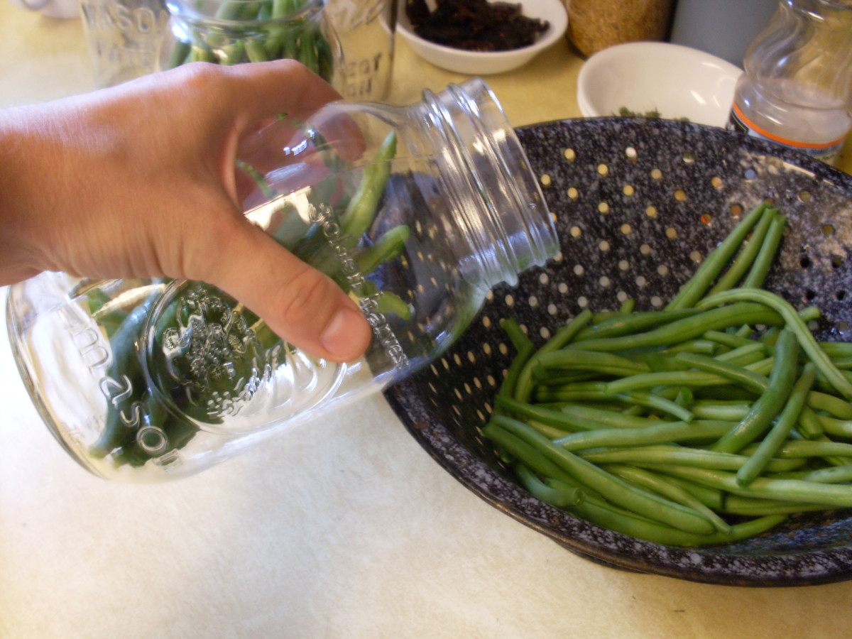 Pack beans into jars tightly, but without crushing them. Small, curly beans will naturally fit differntly than varieties that are long and straight. Both pickle well.