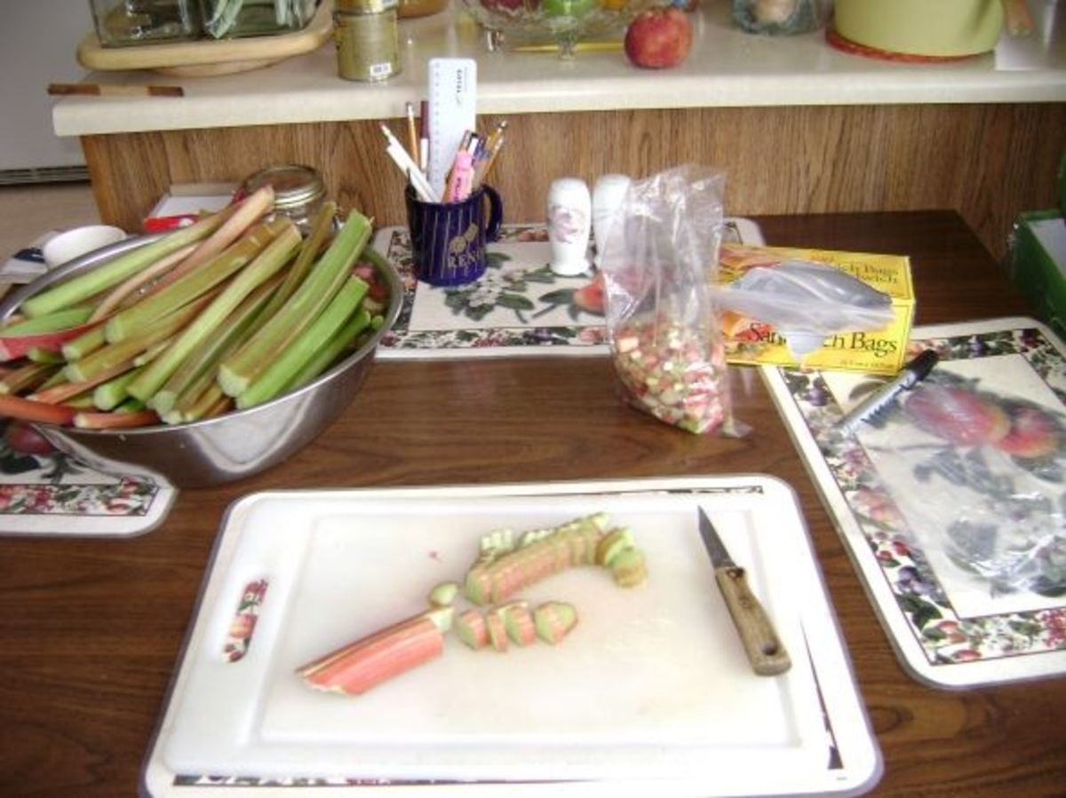 You can freeze your stalks whole or you can dice your rhubarb into bite sized pieces.