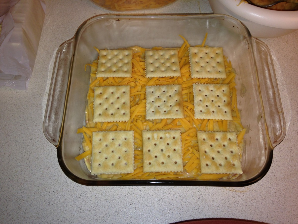 Second layer of crackers, on top of soup and cheese.