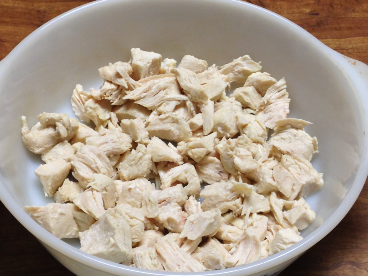 Cooked chicken, cut into bite-sized pieces.