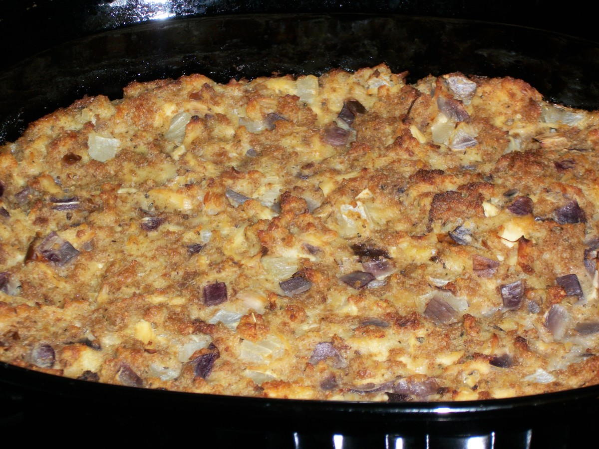 Chicken and dressing casserole out of the oven.