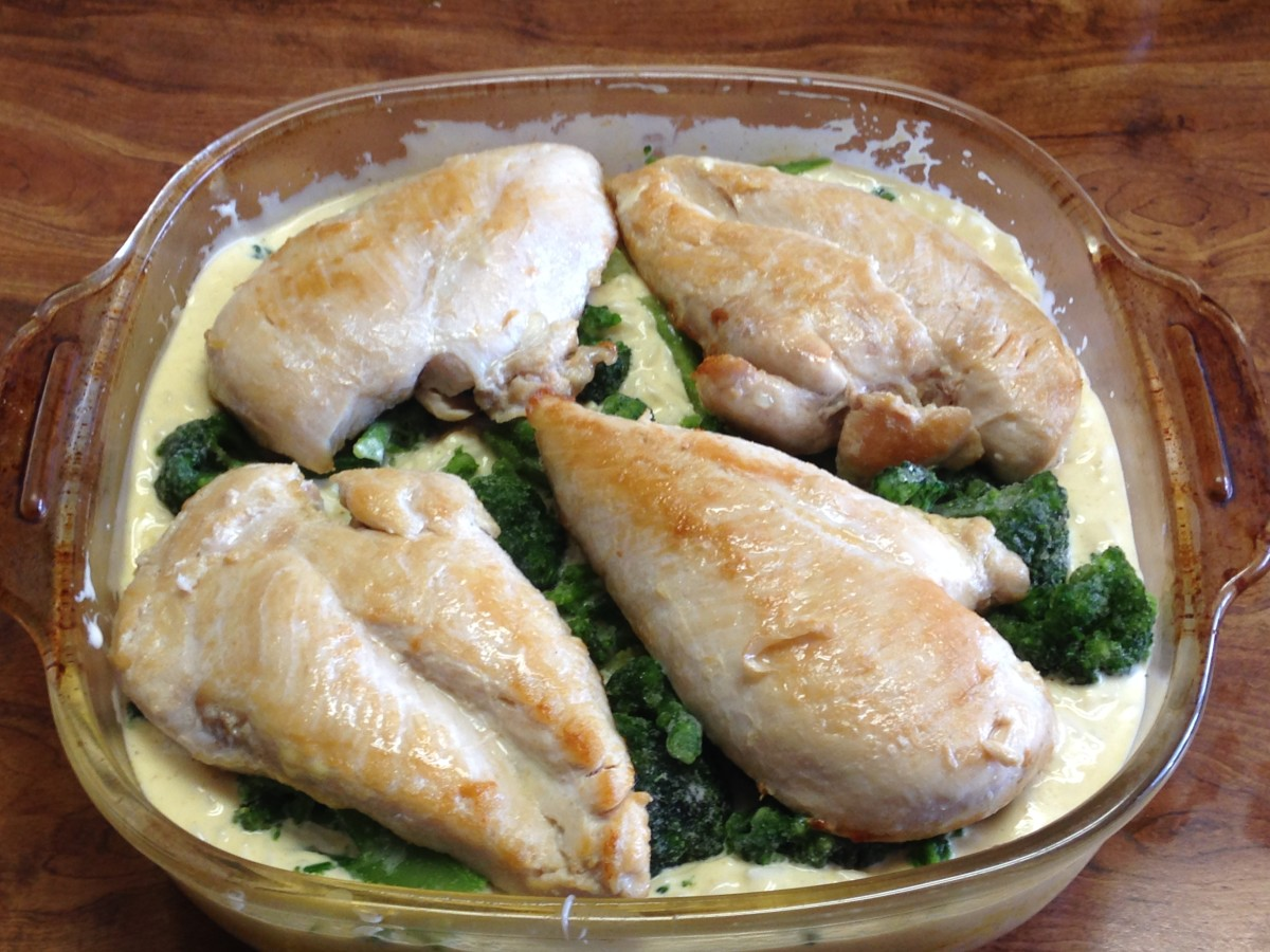 Top with chicken. I brown the chicken in the skillet first.