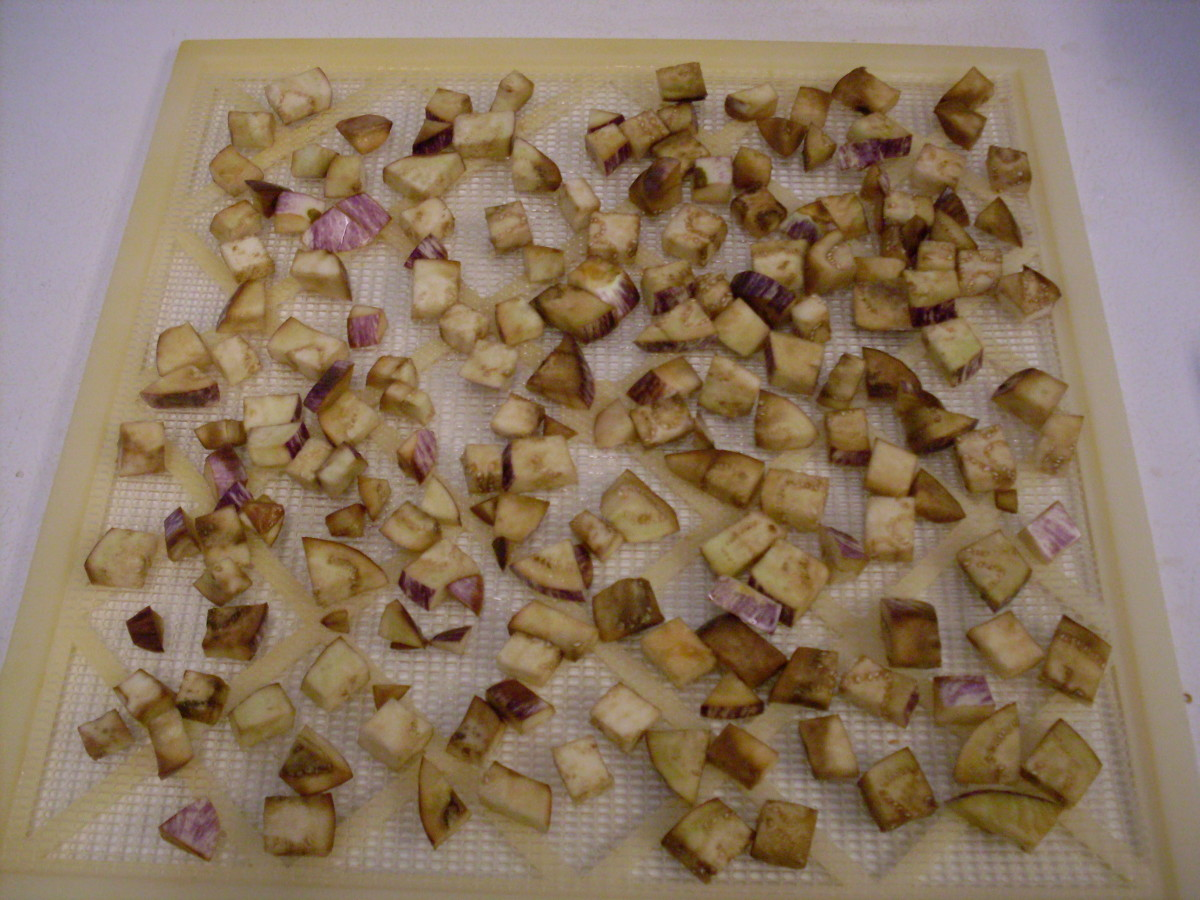 """You don't need much room between pieces (they will shrink a lot, you know), but make sure you don't have any """"clumps"""" of stuck-together pieces. Set dehydrator temperature to 140* F., and dry until quite hard."""