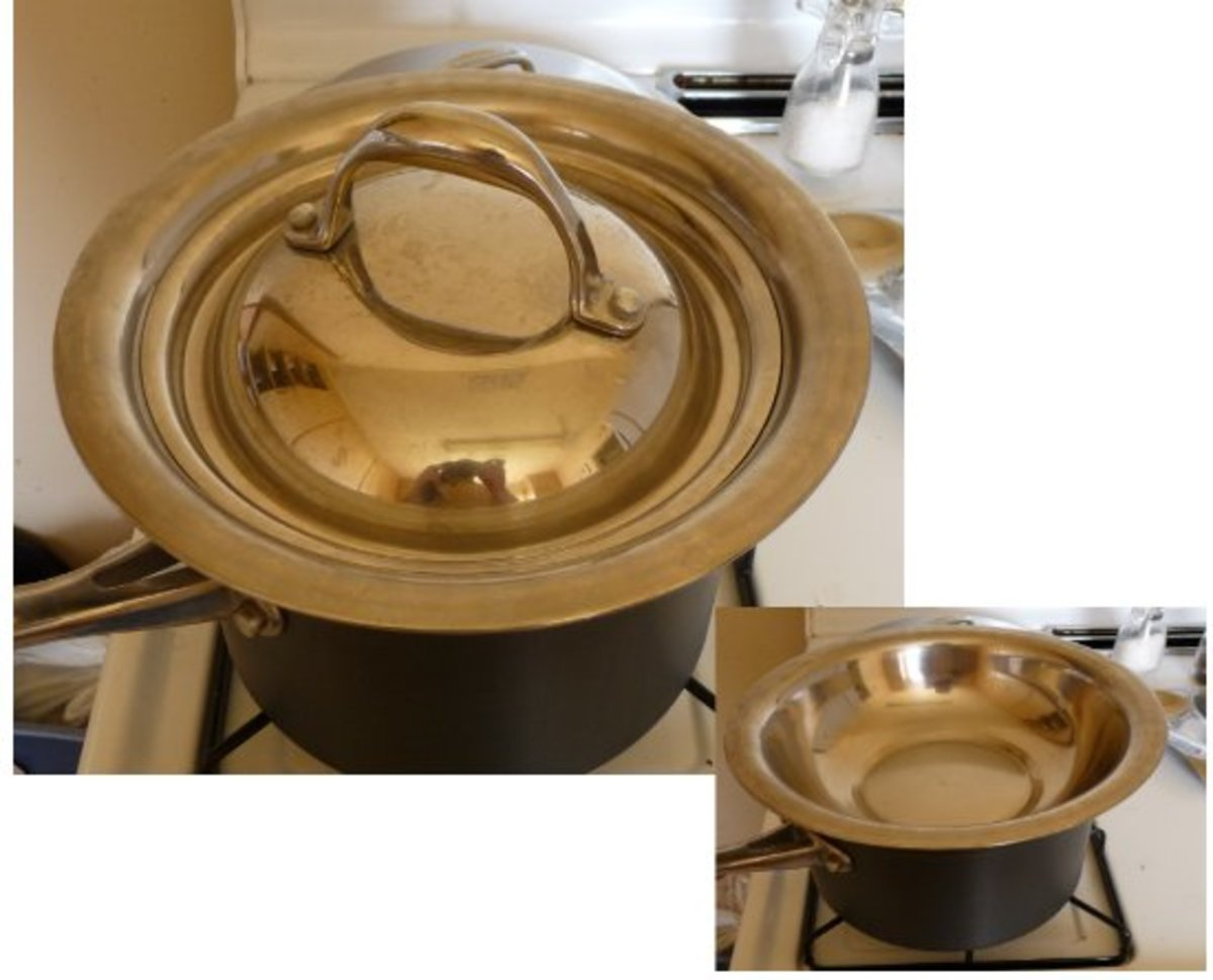 Double boiler with insert sans lid.