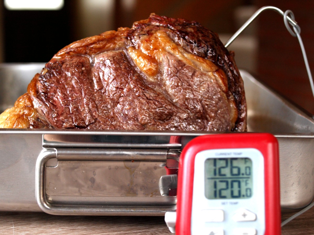 About 1/2 hour before the estimated end of the roasting time, begin checking the internal temperature. Cook until rib roast reaches an internal temperature of 120ºF.