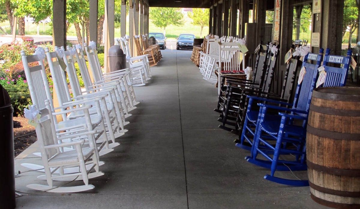 The iconic Cracker Barrel rocking chairs