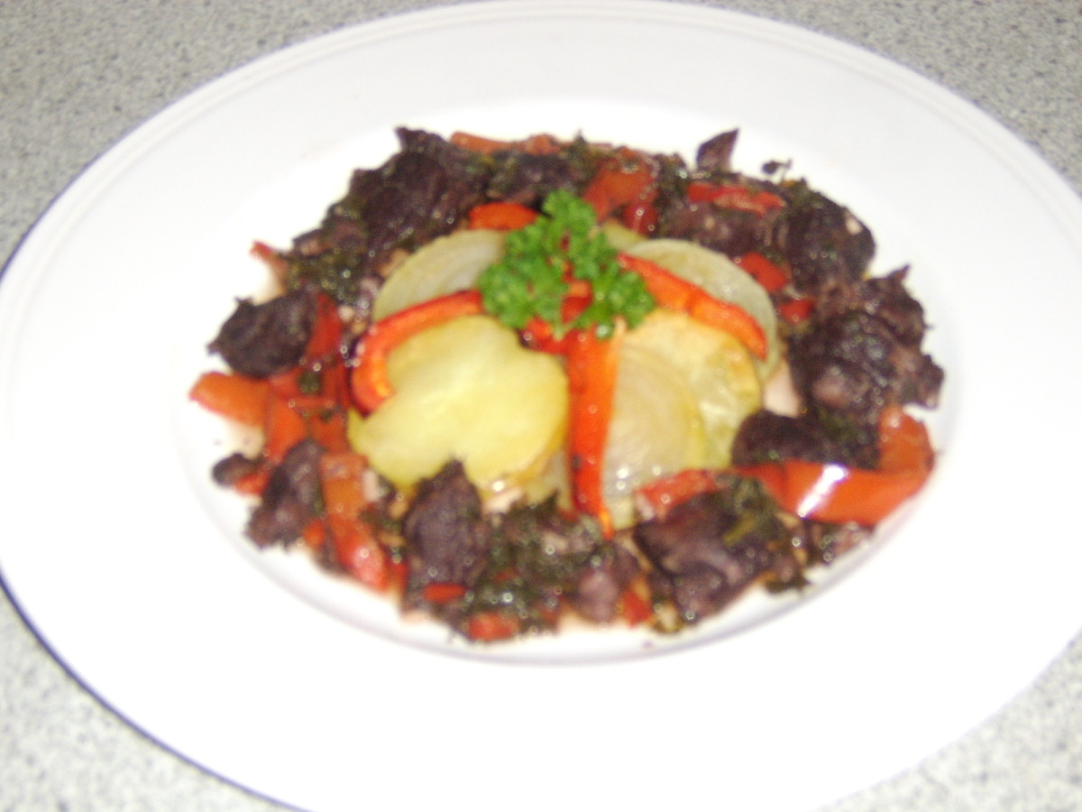 Stewing Steak Braised in Red Wine with Roast Potato and Onion Swirl