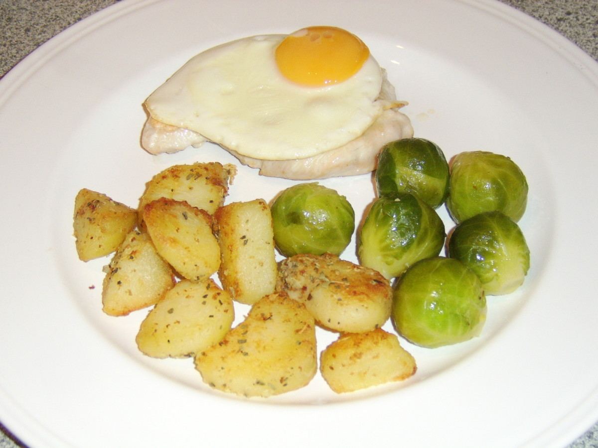Turkey Breast Steak With Roasted Potatoes, Fried Egg and Brussels Sprouts