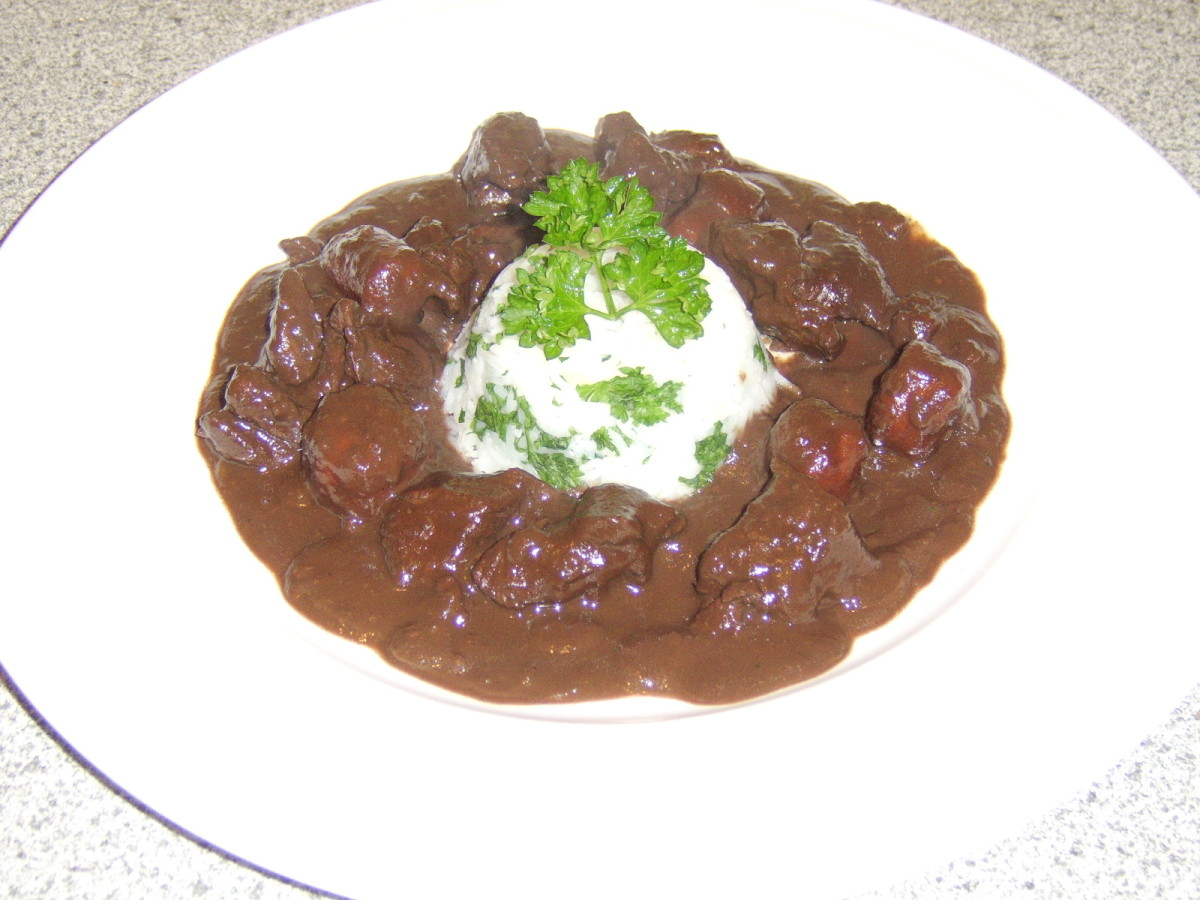 Braised Venison Haunch with Red Wine and Chocolate Sauce