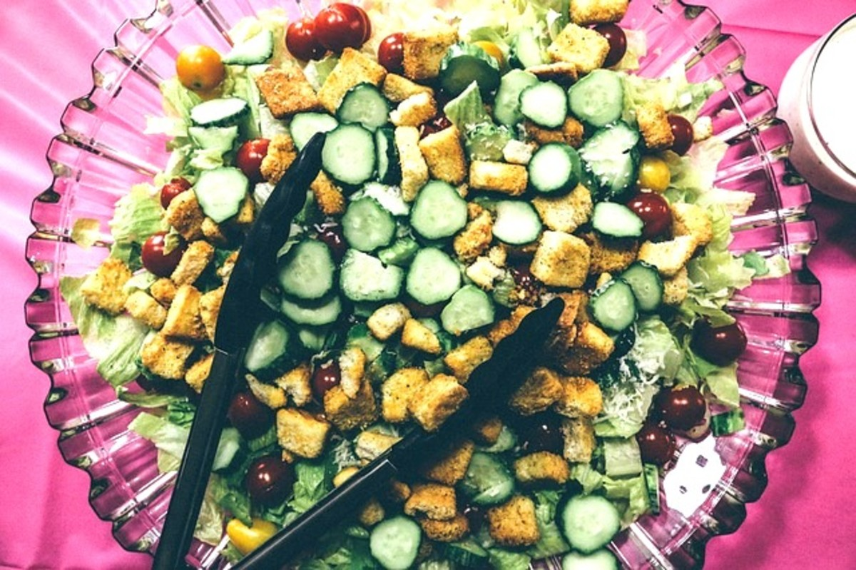 A salad is sublime with flavorful croutons added.