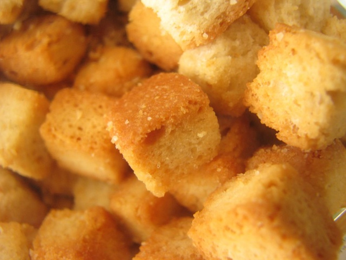 Taking care when cutting can mean pleasing and even-looking croutons.