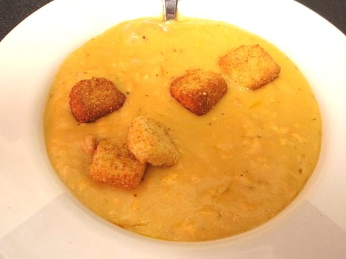 Cheese soup with crispy croutons. A delicious way to serve soup.
