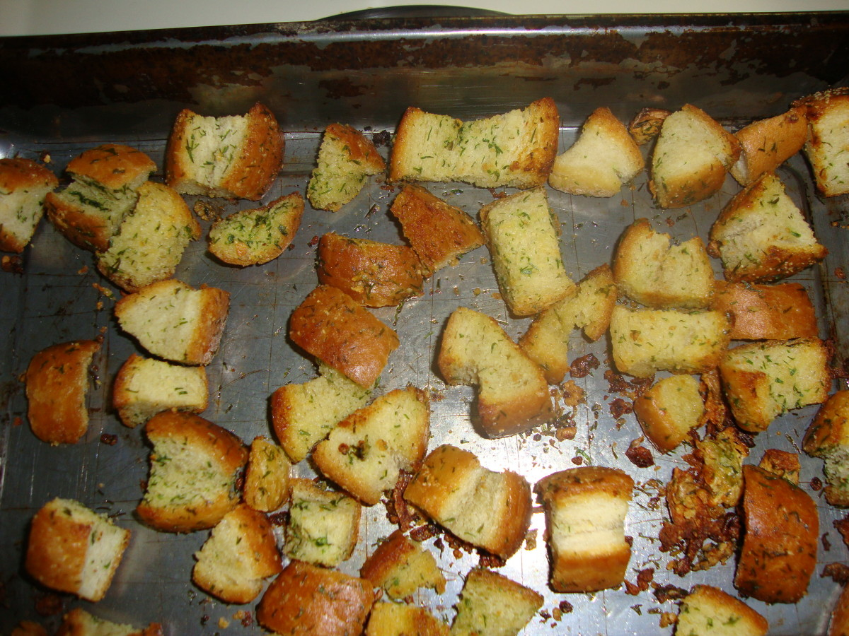 Dill and parsley dress up these crispy oven-baked croutons.