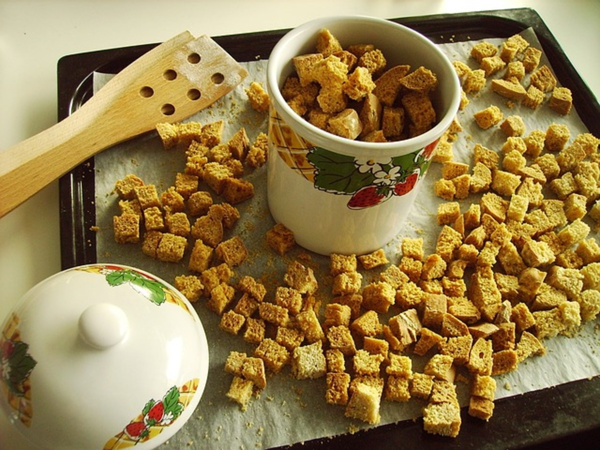 Croutons dry and crisp up as they sit. If you make a good-sized batch, these can be stored dry.